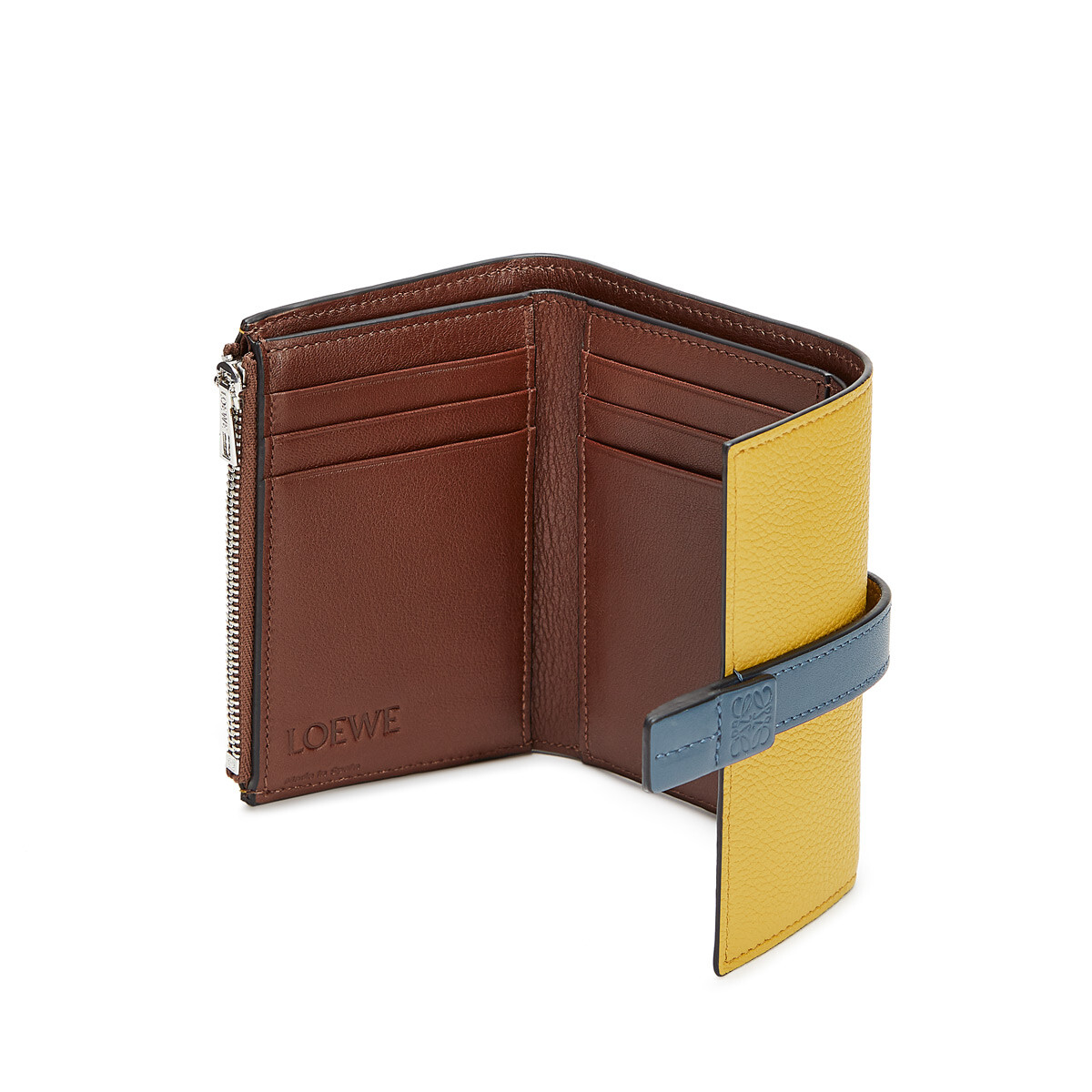 LOEWE Small Vertical Wallet Ochre/Steel Blue  front