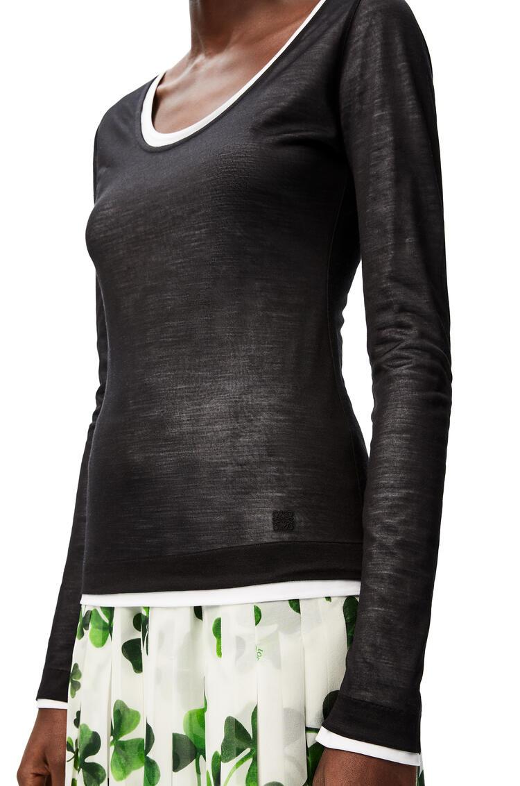 LOEWE Top de cuello redondo y doble capa en algodón Negro/Blanco pdp_rd