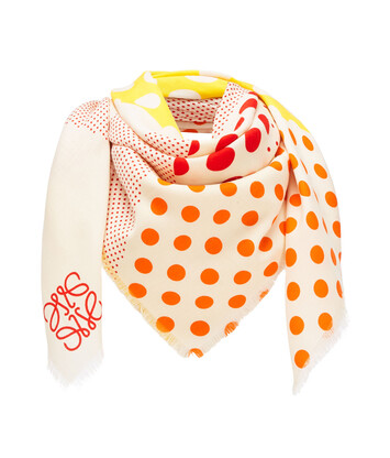 LOEWE 140X140 Scarf Patchwork Dots Yellow front