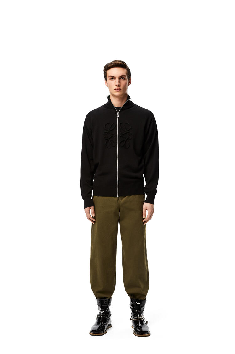 LOEWE Anagram stitch zip sweater in wool and cashmere Black pdp_rd