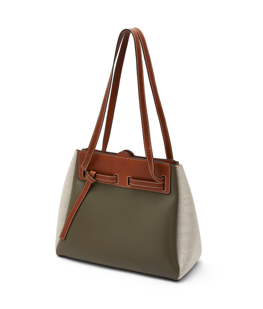 LOEWE Lazo Shopper Khaki Green/Natural front