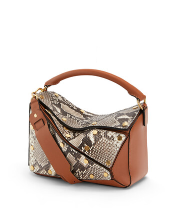 LOEWE Puzzle Multi Patch Bag Tan/Natural front