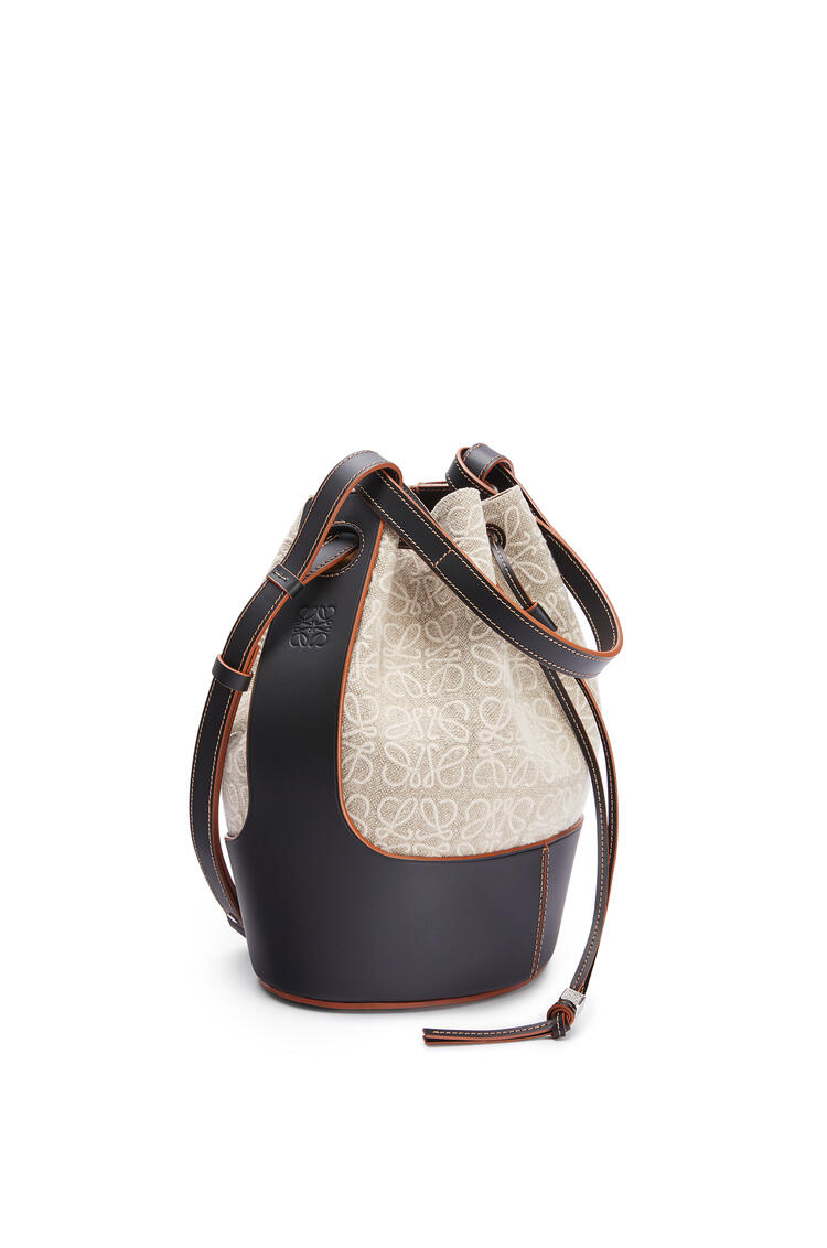 LOEWE Balloon bag in anagram linen and calfskin Natural/Black pdp_rd