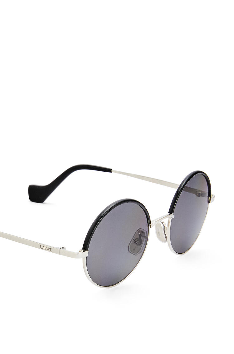 LOEWE Small round sunglasses in metal Solid Smoke Grey pdp_rd