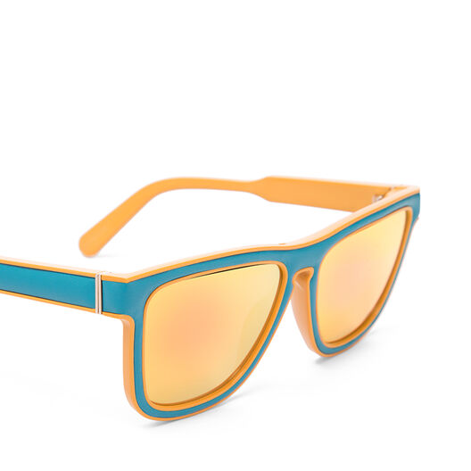 LOEWE Square Padded Sunglasses Turquoise/Mirror Yellow front