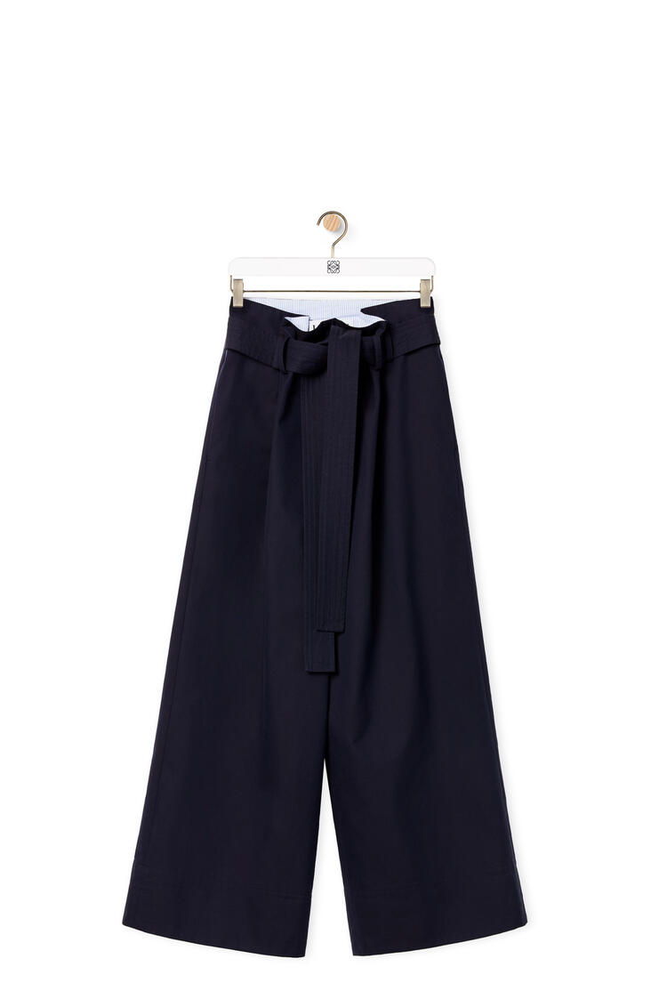 LOEWE Cropped belted trousers in cotton Midnight Blue pdp_rd