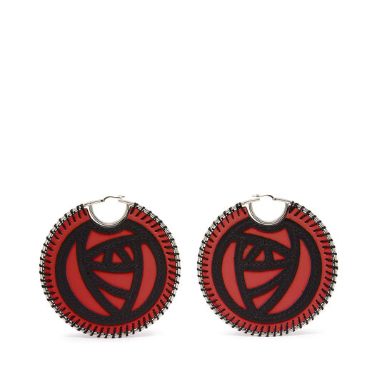 LOEWE Pendiente Roses Rojo Escarlata/Negro front