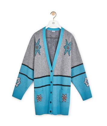 LOEWE Snowflake Oversize Cardigan Grey/Blue front
