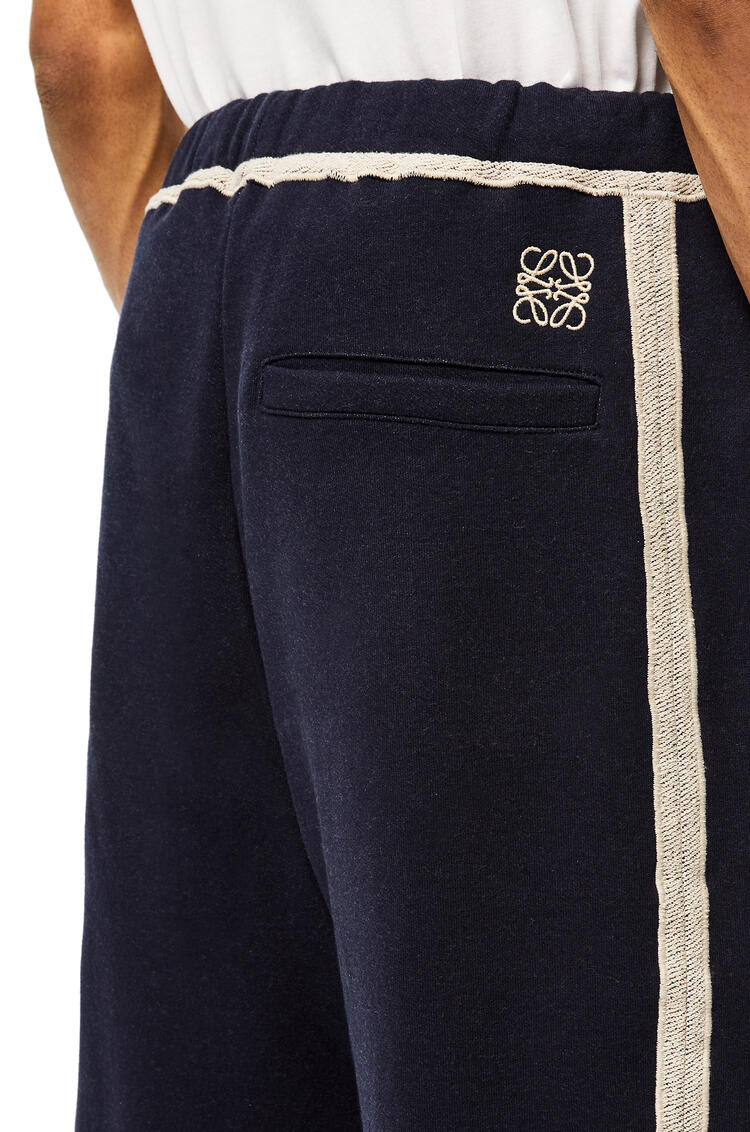 LOEWE Anagram embroidered track trousers in cotton Navy Blue/Off White pdp_rd