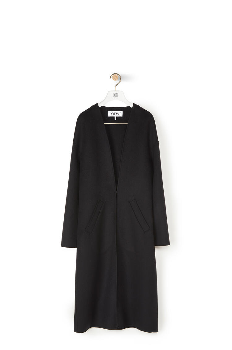 LOEWE Collarless Coat In Cashmere Black pdp_rd