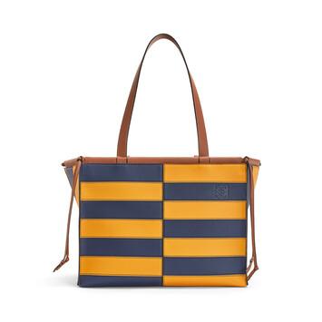 LOEWE Cushion Tote Rugby Amarillo Mango/Marine Azul front