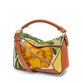 LOEWE Puzzle Floral Small Bag イエロー front