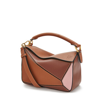LOEWE Puzzle Small Bag Tan/Medium Pink front