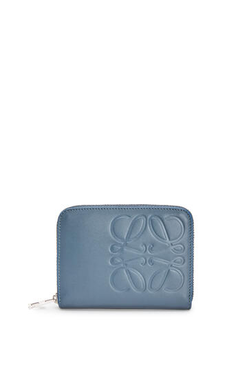 LOEWE 6 Card Zip Wallet In Smooth Calfskin Steel Blue pdp_rd