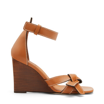 LOEWE Gate Wedge Sandal 80 ライトキャラメル front