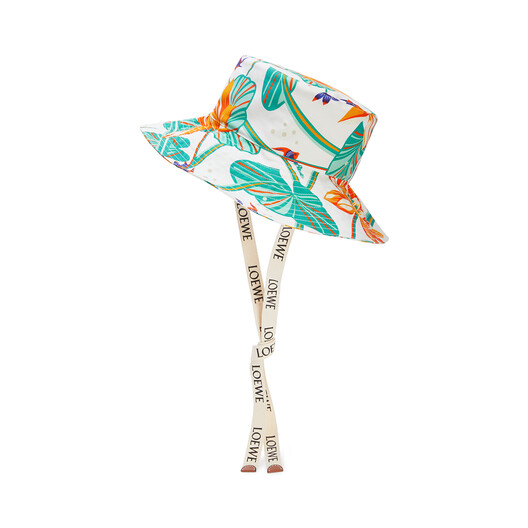 LOEWE Fisherman Hat Waterlily In Canvas White front