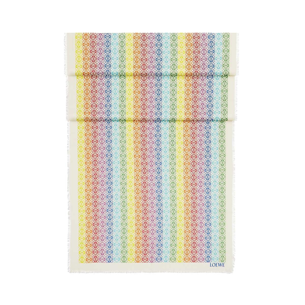 LOEWE 70X200  Anagram Scarf White/Multicolor front