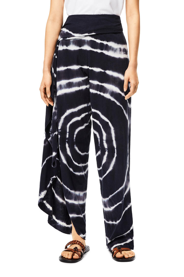 LOEWE Wrap trousers in tie dye cotton and silk Blue/White pdp_rd