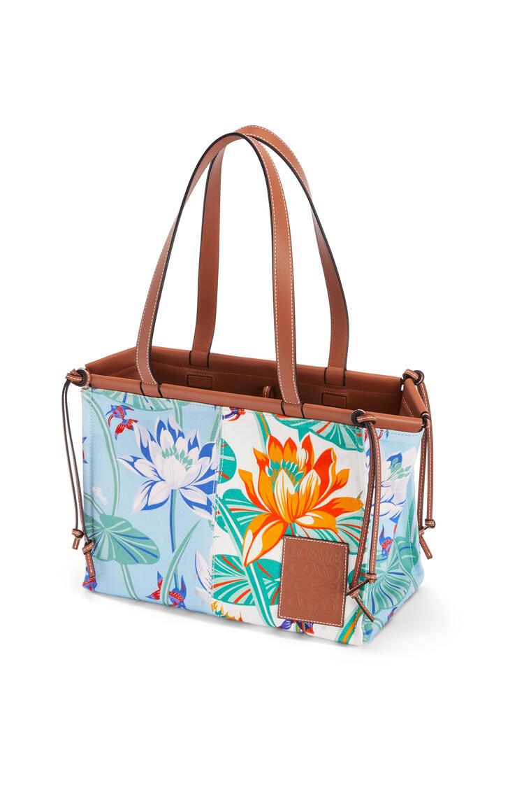 LOEWE Small cushion tote bag in printed canvas and calfskin Aqua/White pdp_rd