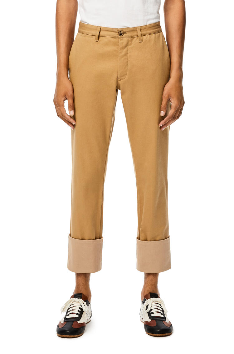 LOEWE Chino turn up trousers in cotton Camel pdp_rd