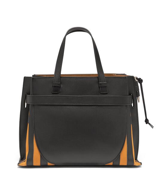 LOEWE Gate Top Handle Grid Bag Black/Light Caramel front