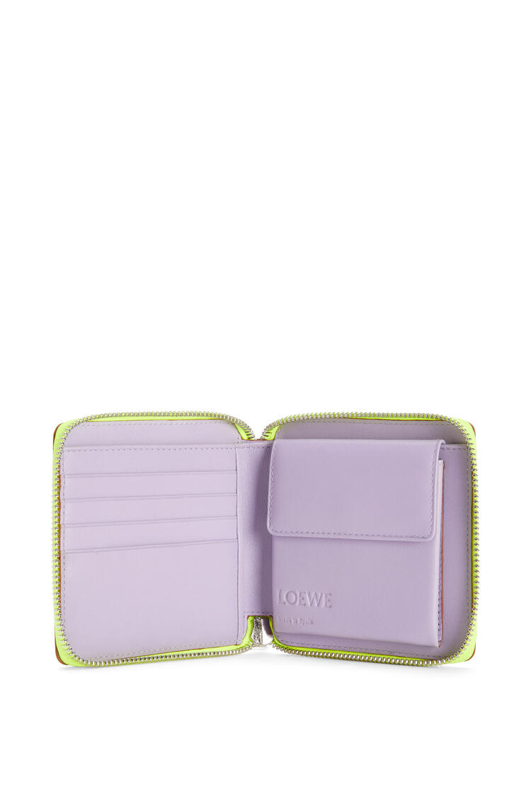 LOEWE Puzzle square zip wallet in classic calfskin Mauve/Soft Apricot pdp_rd