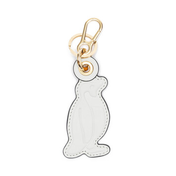 LOEWE Penguin Leather Charm Soft White/Black front