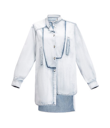 LOEWE Long Asymmetric Shirt Denim Light Blue front