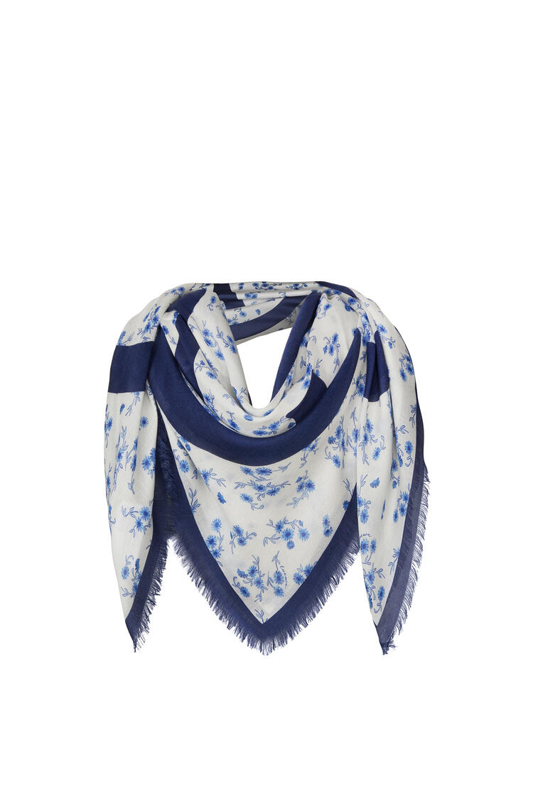 LOEWE 140 X 140 Cm Scarf In Modal And Cashmere Blue pdp_rd