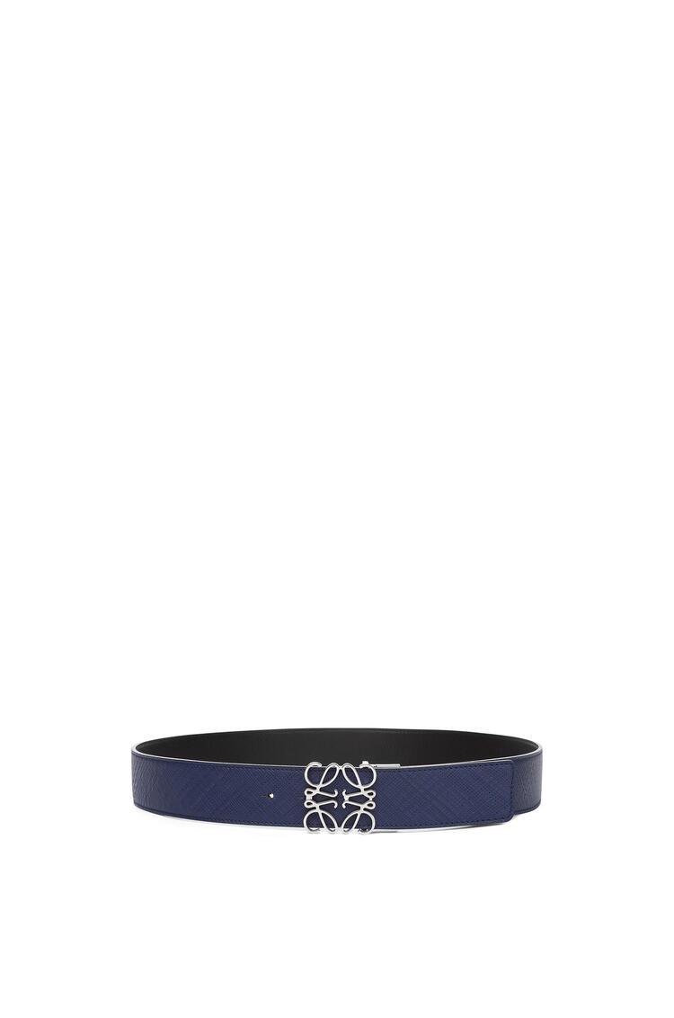 LOEWE Anagram Belt In Textured Calf Navy Blue/Black/Palladium pdp_rd