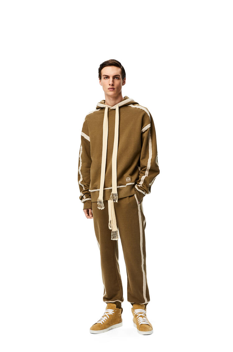 LOEWE Anagram embroidered hoodie in cotton Khaki Green/Ivory pdp_rd