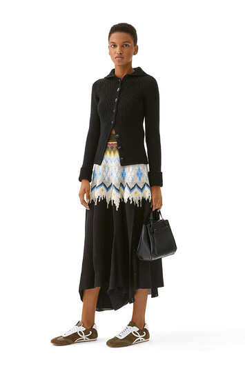 LOEWE Jacquard Knit & Crepe Skirt Negro front