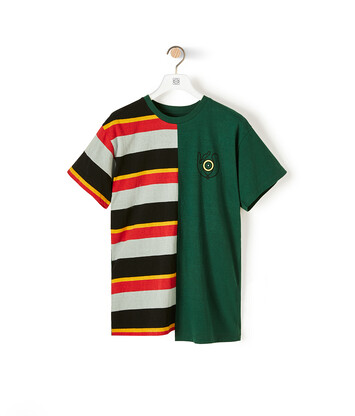 LOEWE Stripe Asymmetric T-Shirt Verde Bosque/Multicolor front