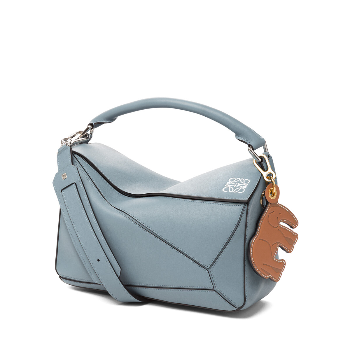 LOEWE Elephant Leather Charm Tan/Navy Blue front