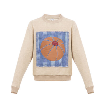 LOEWE Leather Balloon Sweatshirt Beige front