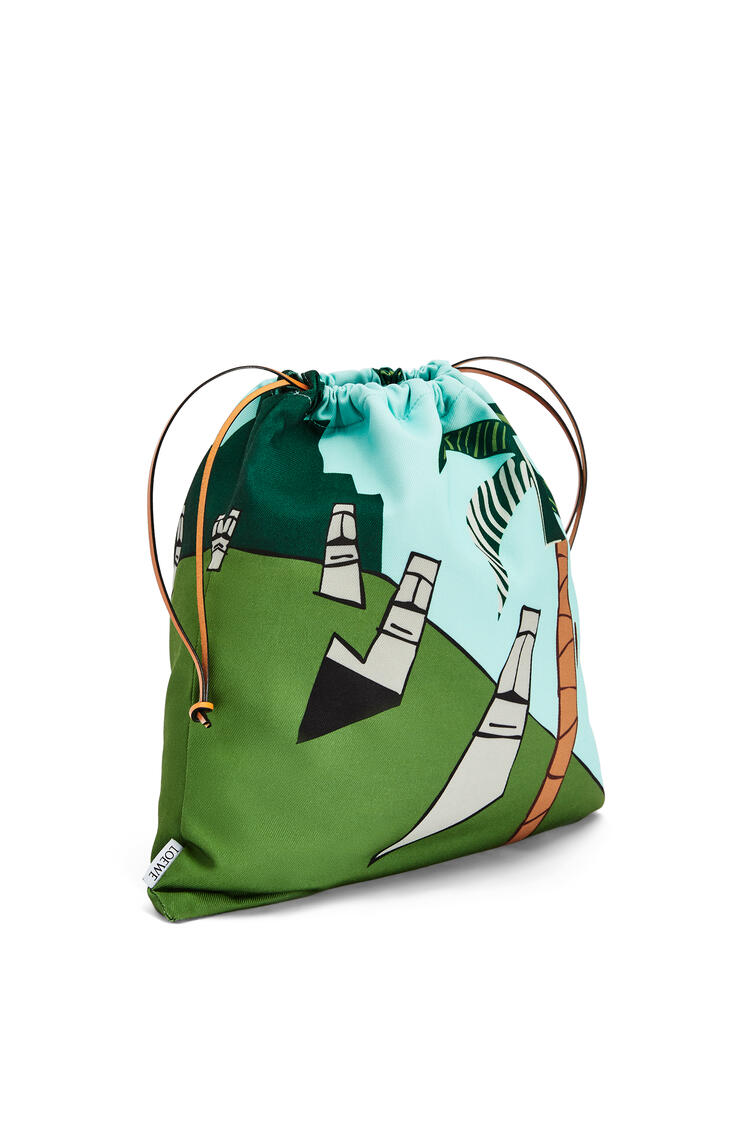 LOEWE Easter Island Drawstring Pouch in canvas Mint/Multicolor pdp_rd