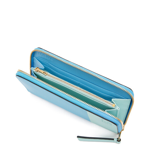 LOEWE Color Block Zip Around Wallet Sky Blue/Mint  front