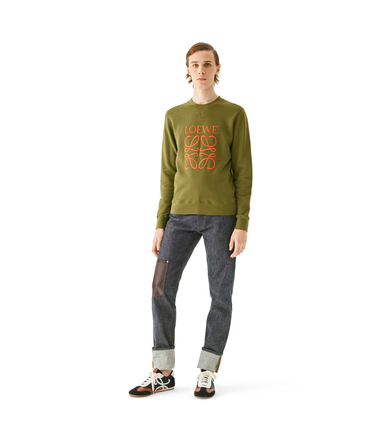 LOEWE Anagram Sweatshirt Military Green front