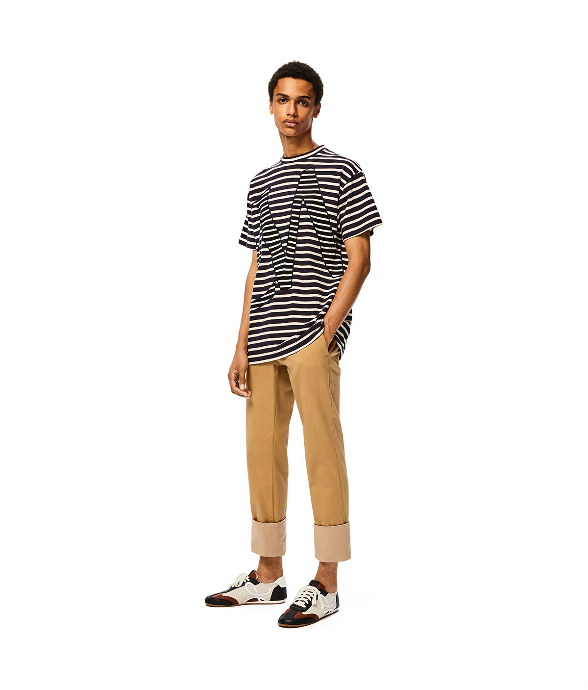 LOEWE Loewe Stripe T-Shirt Azul/Rojo/Blanco front