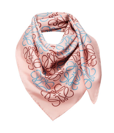 LOEWE 90X90 Anagram All Over Scarf Pink/Blue front