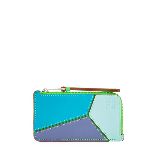 LOEWE Puzzle Coin Cardholder In Classic Calfskin Lagoon Blue/Blueberry front