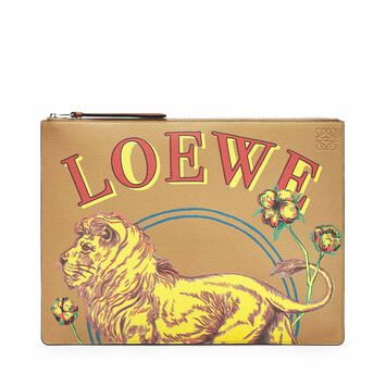 LOEWE Large Flat Pouch Lion Desert front