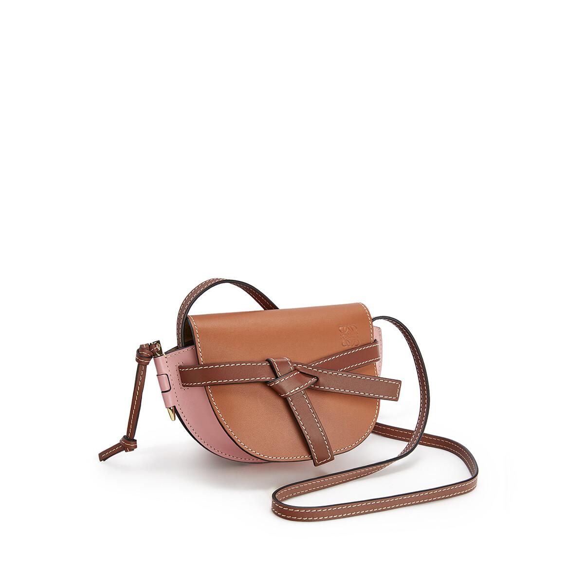 LOEWE Gate Mini Bag Tan/Medium Pink front