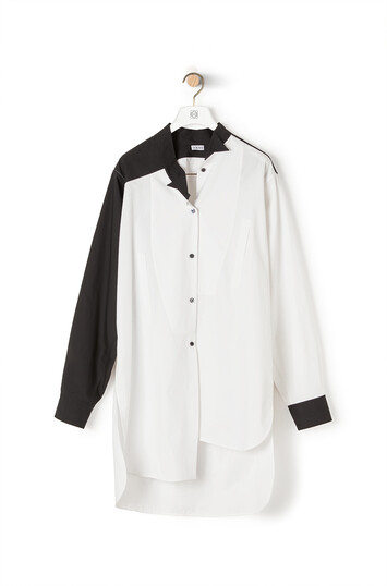 LOEWE Long Asymmetric Bicolor Shirt Black/White front