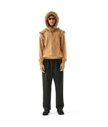 LOEWE Fur Trim Zip Hoodie Camel front