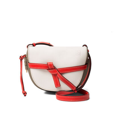 LOEWE Gate Small Bag Soft White/Light Grey/Red front