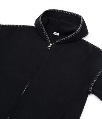 LOEWE Zip Hoodie Blanket Stitch 黑色 front