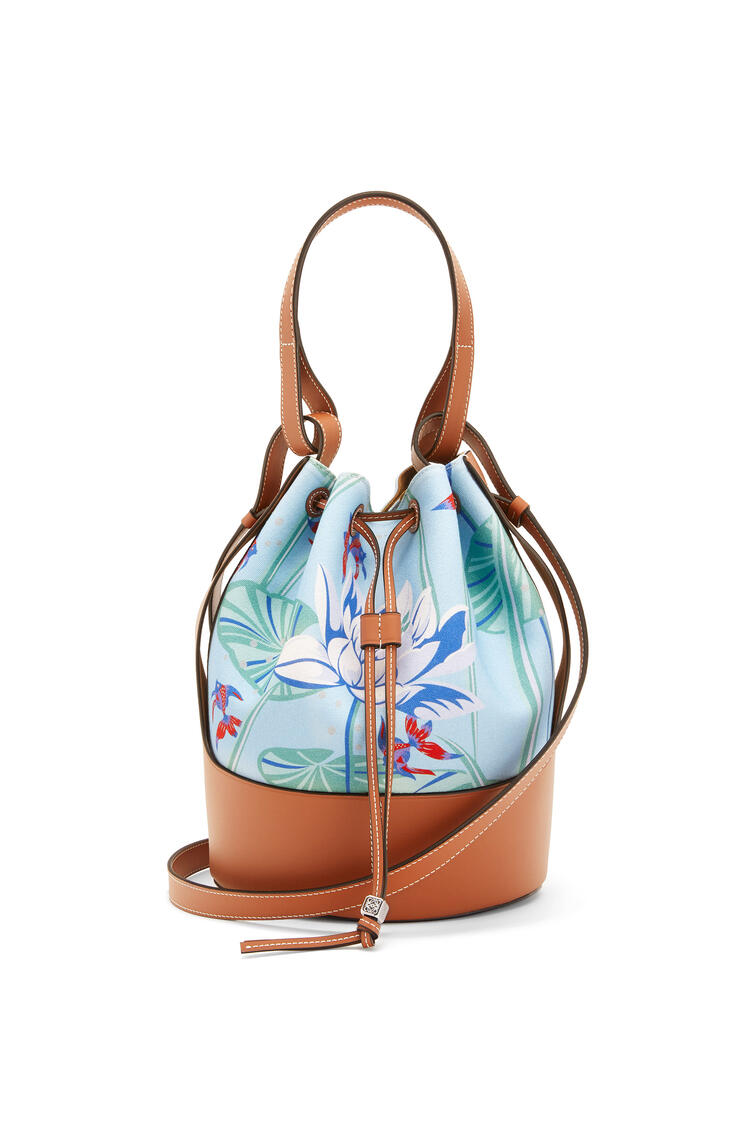 LOEWE Balloon Bag In Waterlily Canvas And Calfskin Aqua/Tan pdp_rd