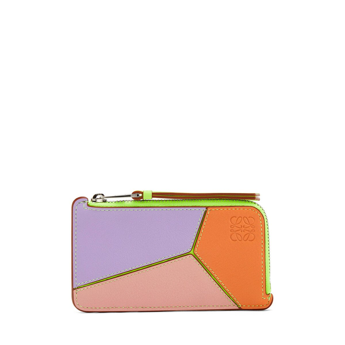 LOEWE Puzzle Coin Cardholder In Classic Calfskin Mauve/Soft Apricot front