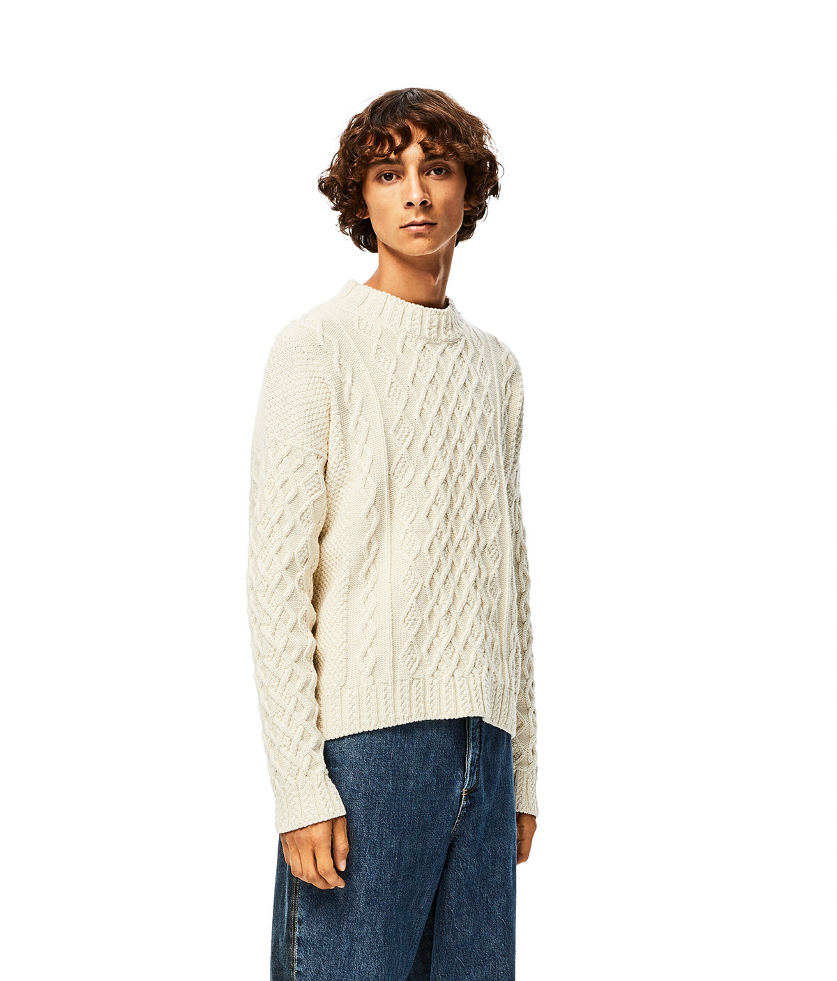 LOEWE Cable Sweater Ecru front